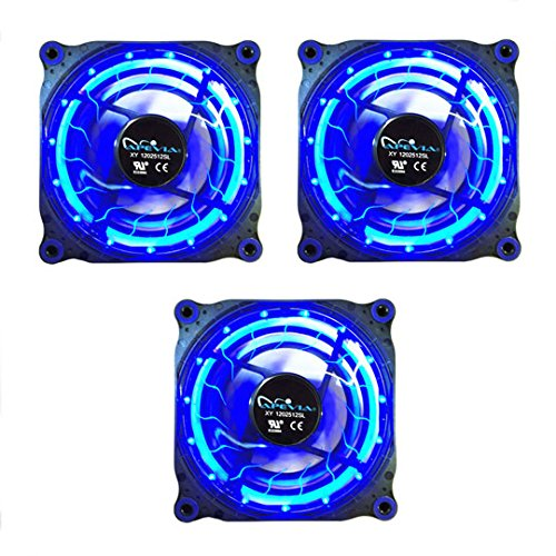 APEVIA 312L-DBL 120mm Silent Black Case Fan with 15 x Blue LEDs & 8 x Anti-Vibration Rubber Pads (3 Pk) - Best Value