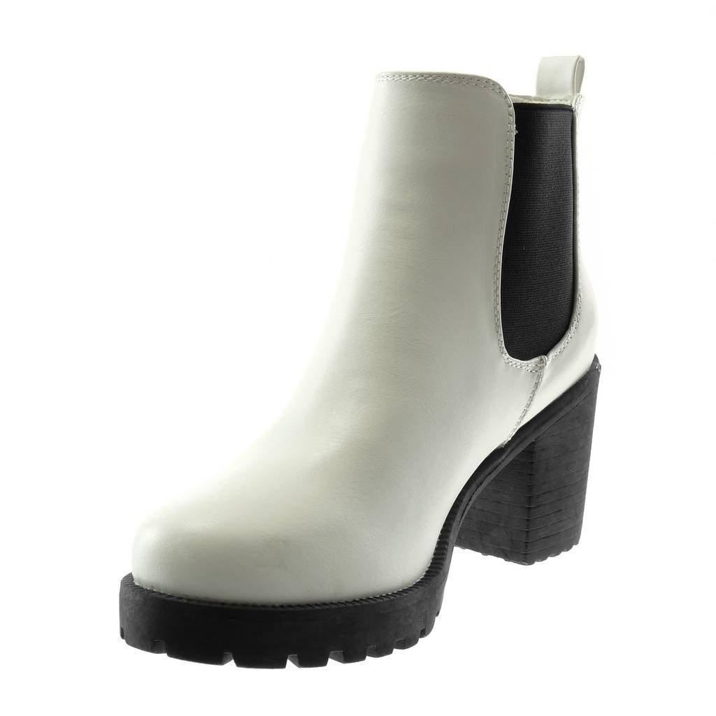 cd28d16cca3 Angkorly - Chaussure Mode Bottine Chelsea Boots Plateforme Slip-on Femme  élastique Talon Haut Bloc 8 CM  Amazon.fr  Chaussures et Sacs