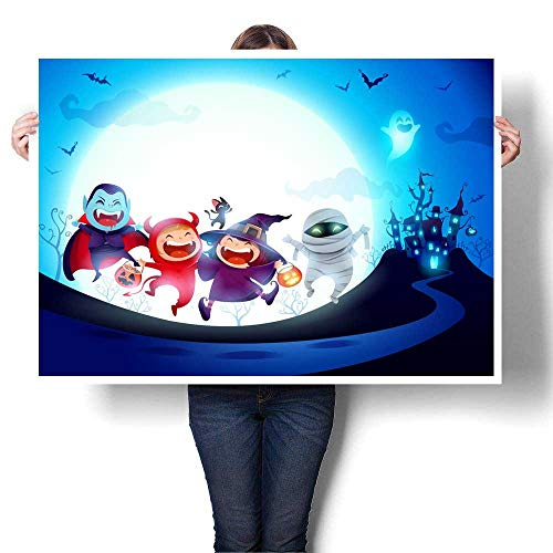 (Wall Art Oil Paintings Halloween Kids Costume Party Group of Kids in Halloween Costume Jumping in The Moonlight Decorative Fine Art Canvas Print Poster K 32