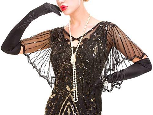 Uniq Sense Women's 1920s Shawl Beaded Sequin Deco Evening Cape Bolero Flapper Cover up (Black, one size)