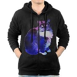 Men's Hoodie Sweatshirt Starry Night Sky-cat Long Sleeve Zip-up Hooded Sweatshirt Jacket S