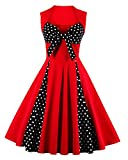 Killreal Women's Vintage Cocktail Polka Dot Print Rockabilly Dress for Christmas Party Black/Red Large
