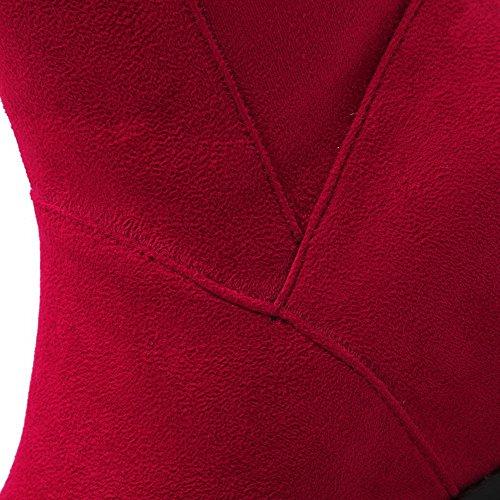 VogueZone009 Damen Mattglasbirne Ziehen auf Rund Zehe Mittler Absatz Mitte-Spitze Stiefel Rot