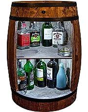 weeco Bar kast LED. Wijnrek wijnkast XL. Vat Vintage decoratie Woonkamer Minibar Gin Whisky Bier. Wijnvat statafel. Houten vat voor glazen en flessen. Wijnrek cadeauset. Bartafel met hout