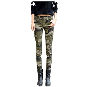 6. NASKY Women's Camo Army Slim Stretch Jeans