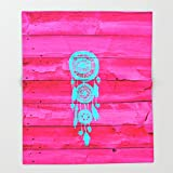Society6 Hipster Teal Dreamcatcher Girly Pink Fuchsia Wood Throw Blankets 88'' x 104'' Blanket