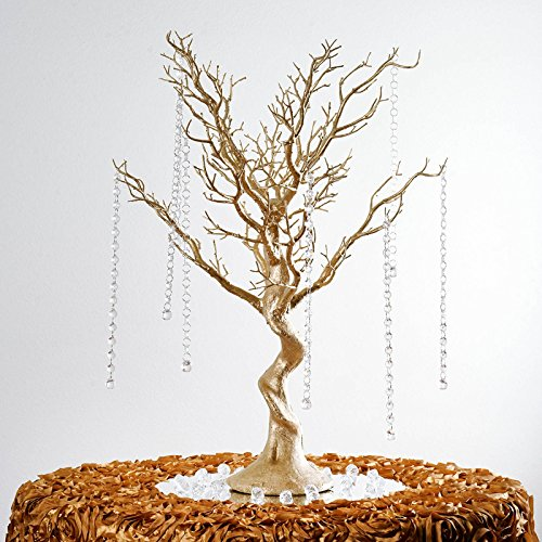 Top 10 best wedding centerpieces with branches top product reviews balsacircle 30 inch tall gold glittered manzanita tree with acrylic garlands wedding home centerpieces decorations diy supplies junglespirit Image collections