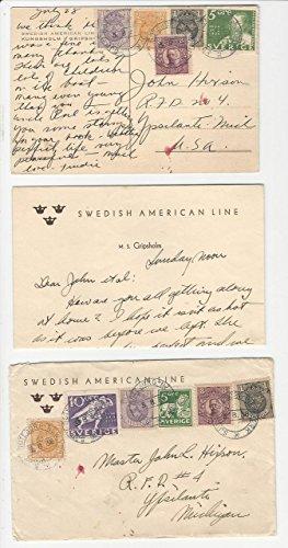 (Sweden, Postage Stamp, 1936 Letter & Postcard, Ship, Swedish American Line)