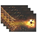 Naanle Sport Placemat Set of 6, Fire Soccer Ball Heat-resistant Washable Table Place Mats for Kitchen Dining Table Decoration