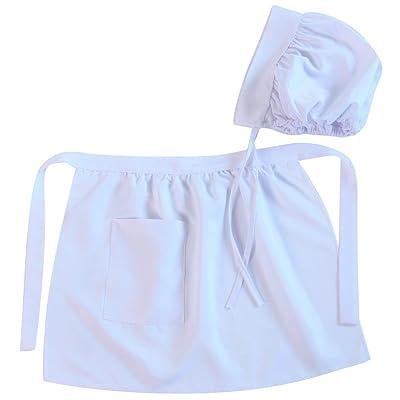 Making Believe Girls Puritan Colonial Apron & Bonnet Set, White (Choose Size): Clothing
