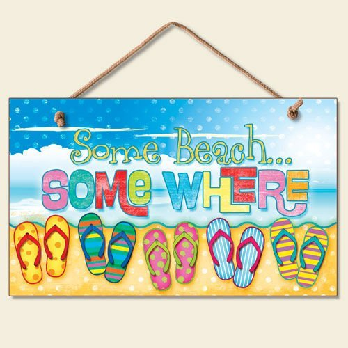 New Some Beach Somewhere Sign Flip Flops Tropical Wall Decor Coastal Picture Art ()