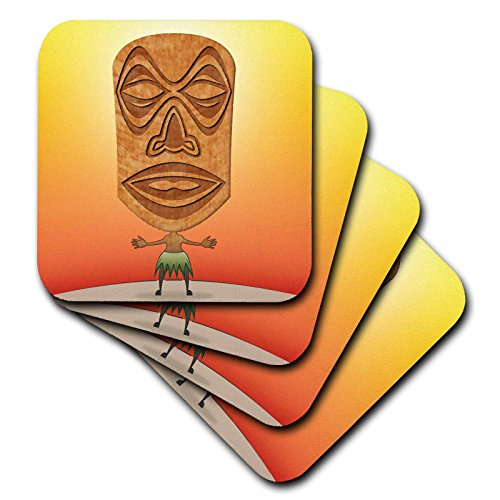 3dRose cst_19239_1 Voodoo Tiki Head Voodoo Villager with Tribal Mask Standing in Tropical Environment Soft Coasters, Set of 4
