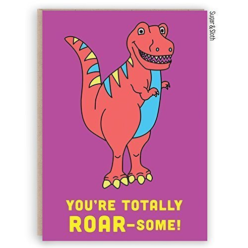 Image Unavailable Not Available For Colour Pink Dinosaur ROARsome Card Trex Greeting