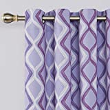 Deconovo Trellis Printed Blackout Curtains Purple Curtains Light Blocking Curtains for Living Room 52W x 84L Inch Purple White and Light Purple 2 Panels