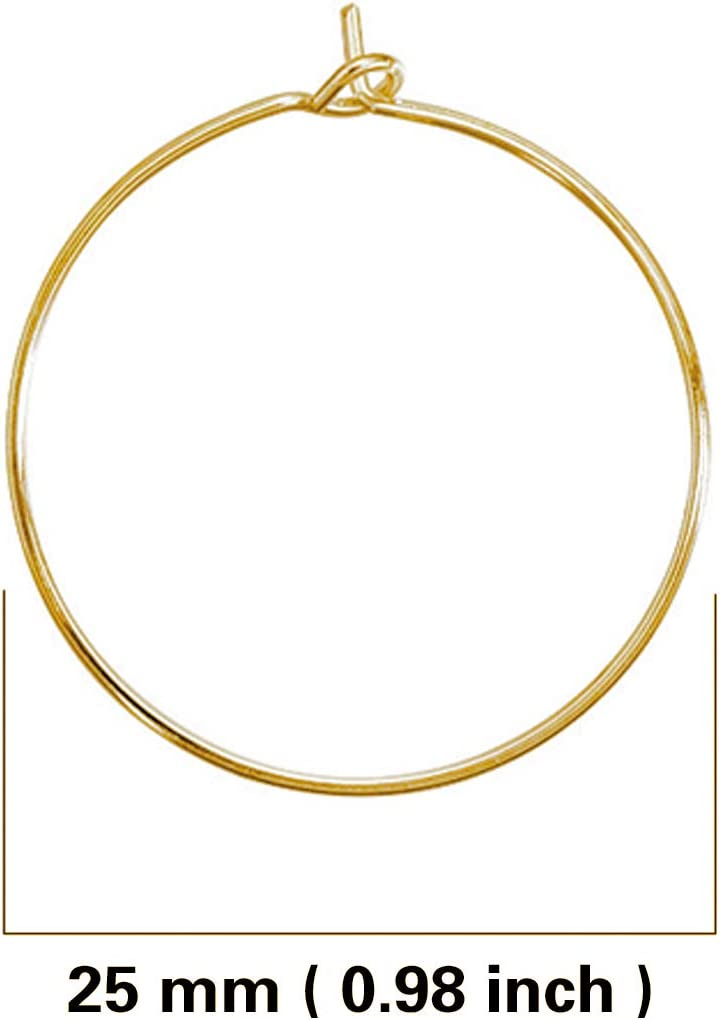 JIALEEY 100PCS Wine Glass Charm Rings 25mm Gold Plated Open Jump Ring Earring Beading Hoop for Jewelry Making Wedding Birthday Party Festival Favor