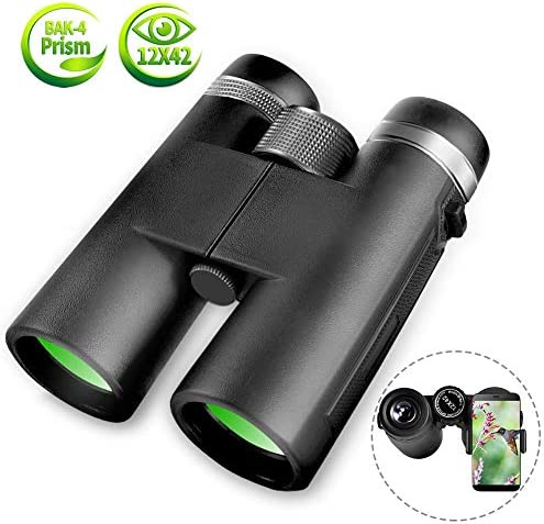 Binoculars for Adults, 12×42 BAK4 Roof Prism FMC Lens, Compact Professional HD Binoculars with Low Light Night Vision Waterproof Binoculars for Bird Watching Hunting Concert with Smartphone Adapter