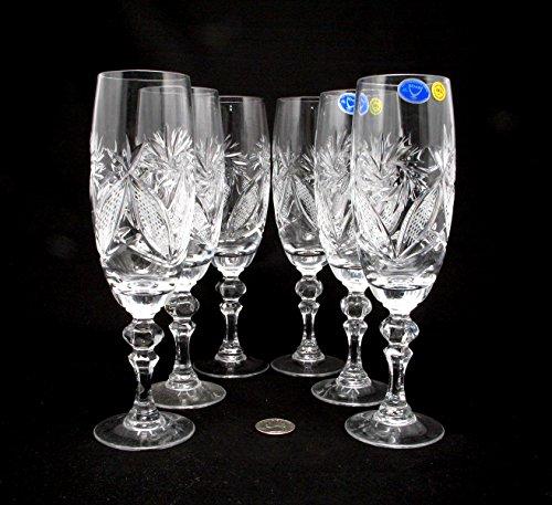 6 Russian CUT Crystal Champagne Glasses on a Stem 200ml/6.8oz Hand (Cut Crystal Stem)