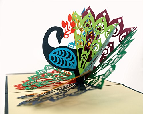 CUTPOPUP Peacock Bird 3D Pop-Up Greeting Card – Charming Design, Hand Assembled Ideal for Birthdays, Mother day, Thank You, House Warming, Wedding or Anniversaries – With Card Holder (Dark ()