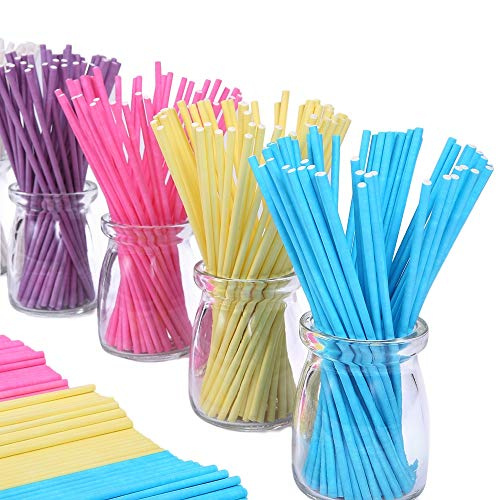 Colored Lollipop Sticks 100 Count 6 inch (Blue, White, Purple, Yellow, Rose-red) -