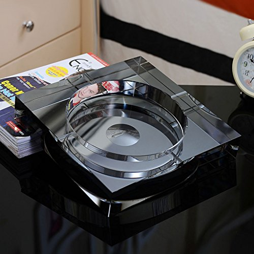 Home Ashtray Crystal Glass Cigarettes Windproof Living Room Coffee Table Multi-function Indoor And Outdoor Ashtray (Black) ( Size : 25CM ) by LTM Ashtray