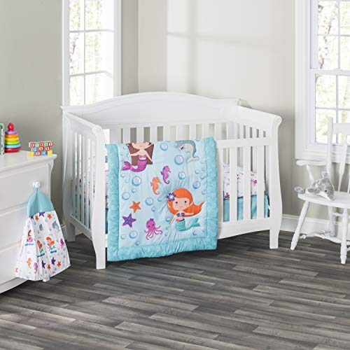 Everyday Kids 3 Piece Girls Crib Bedding Set - Mermaid Adventures - Includes Quilt, Fitted Sheet and Dust Ruffle - Nursery Bedding Set - Baby Crib Bedding Set
