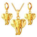 Elephant Pendant Necklace Earrings Set for Women 18K Gold Plated African Style Jewelry