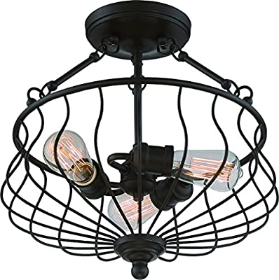"""Luxury Industrial Semi-Flush Ceiling Light, Medium Size: 15.25""""H x 15.25""""W, with Tuscan Style Elements, Open Wire Design, Estate Bronze Finish and , Includes Edison Bulb(s), UQL2070 by Urban Ambiance"""