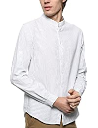 Men Regular Fit Band Collar 100% Cotton Pinstripe Long Sleeve Daily Office Casual Business Shirt