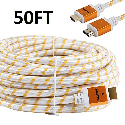 CableVantage HDMI Braided PS4 Xbox One HDMI Cable 18Gbps Premium Braided Cord -Gold Plated Connectors -Ethernet,Audio Return -Video HD 1080p,3D -Xbox Playstation PC Computer Monitor White (50FT)
