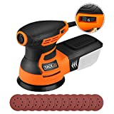 "5"" Random Orbit Sander, Tacklife 6 Variable Speed 3.0A 350W/13000RPM Sander with 12Pcs Sandpapers, High Performance Dust Collection System, 9.84Ft(3M) Power Cord, Ideal for DIY, Decoration - PRS01A"