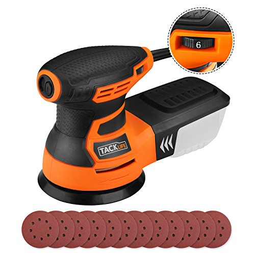 "5"" Random Orbit Sander with 12Pcs Sandpaper, Tacklife 6 Variable Speed 3.0A/350W/13000 OPM Orbital Sander with High Performance Dust Collection System, Ideal for the DIY and Home Decoration - PRS01A"