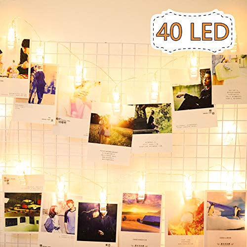 (Lavince LED Photo Clips String Lights - 40 Photo Clips for Hanging Photos Cards Artwork for Indoor/Outdoor Bedroom Patio Parties Wedding Indoor Outdoor Marriage Proposal Dorm Room(Warm White))