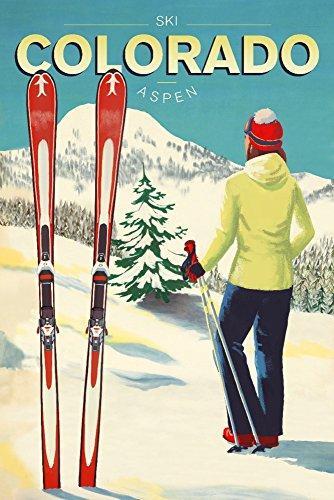 Aspen Ski Posters - Aspen, Colorado - Woman Skier Mountain View - Ski Aspen (12x18 Art Print, Wall Decor Travel Poster)