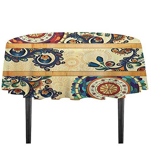 kangkaishi Batik Washable Tablecloth Oriental Vintage Paisley Batik Pattern with Eastern Motifs in Flat Boho Art Design Desktop Protection pad D51.18 Inch Multicolor