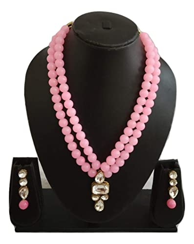 7701fba2c Catalyst Jewellery Light Pink Studded with Stone and Sparkling Stones 2  Layered Light Pink Beads Pearl