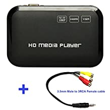 Buyee® 1080P Full HD Multi TV Media Player HDMI Video Player with YPbPr USB 2.0 SD and HDMI Ports MP3 AVI RMVB MPEG etc Player with Remote Control