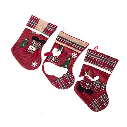 Xena 3 Piece Red Green Plaid Beautiful Handmade Traditional Christmas Snowman Santa Plush 3D Hanging Stocking Set of 3 Medium 8.5 Inch Holiday Decoration Fireplace Accessories ()