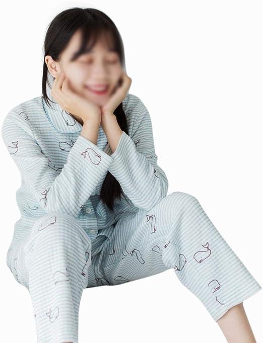 Cvthfyk Algodón de Tres Capas Acolchado Pijamas Mujer Invierno Gruesa Pareja cálida Traje de Manga Larga Servicio a Domicilio (Color : Azul, Size : L): Amazon.es: Hogar