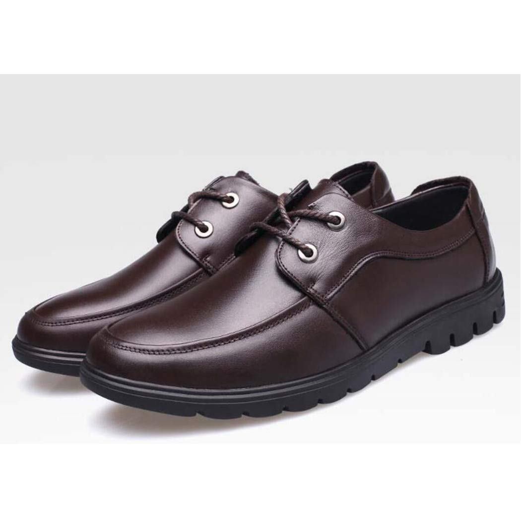 KTYXGKL Mens Casual Shoes Korean Business Department with Tide Fashion Trend Single Shoes Shoes Banquet Low Shoes Mens Leather Boots Color : Brown, Size : 39 EU