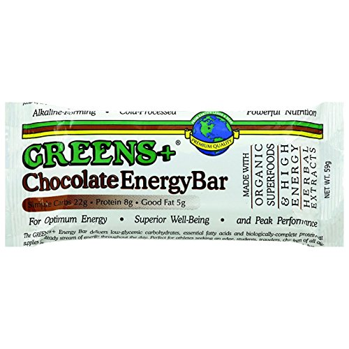 Greens Plus +Plusbar Energy Chocolate | Non-GMO & Gluten free | Made with Organic Dates, Dark Chocolate, Almond Butter & Greens+ Superfoods - 12 Nutrition Bars/59 gram per (59% Organic Dark Chocolate)