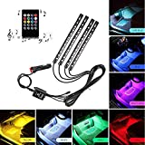 Car LED Strip Light, Multicolor Music Car Interior Lights RGB Under Dash Decorative Lighting Waterproof Kit With Sound Active Function and Wireless Remote Control 4pcs 48LED, DC 12V (Car Cigarette)