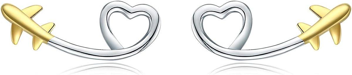 Cadeaux pour fille Boucles d/'oreilles /à tige en argent sterling 925 en forme de c/œur