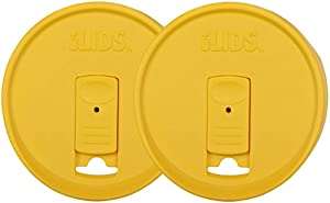 iLIDS Mason Jar Drink Lid, Wide Mouth, Yellow, Pack of 2
