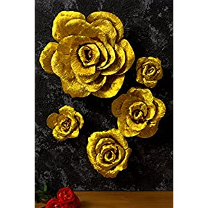 5 Large Crepe Paper Flowers,Handcrafted Flowers,Nursery Wall,Metallic Gold Rose Flower,for Wedding Backdrop, Gold Bachelorette,Baby Shower,Photo Backdrop,Gatsby Nursery,Archway Decor 4