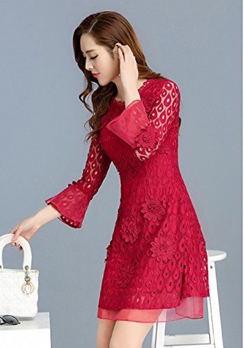 cotyledon Red 4 Hollow Lace Dresses Women`s Dress Scoop Out 3 Neck Sleeve On6ORq1rY