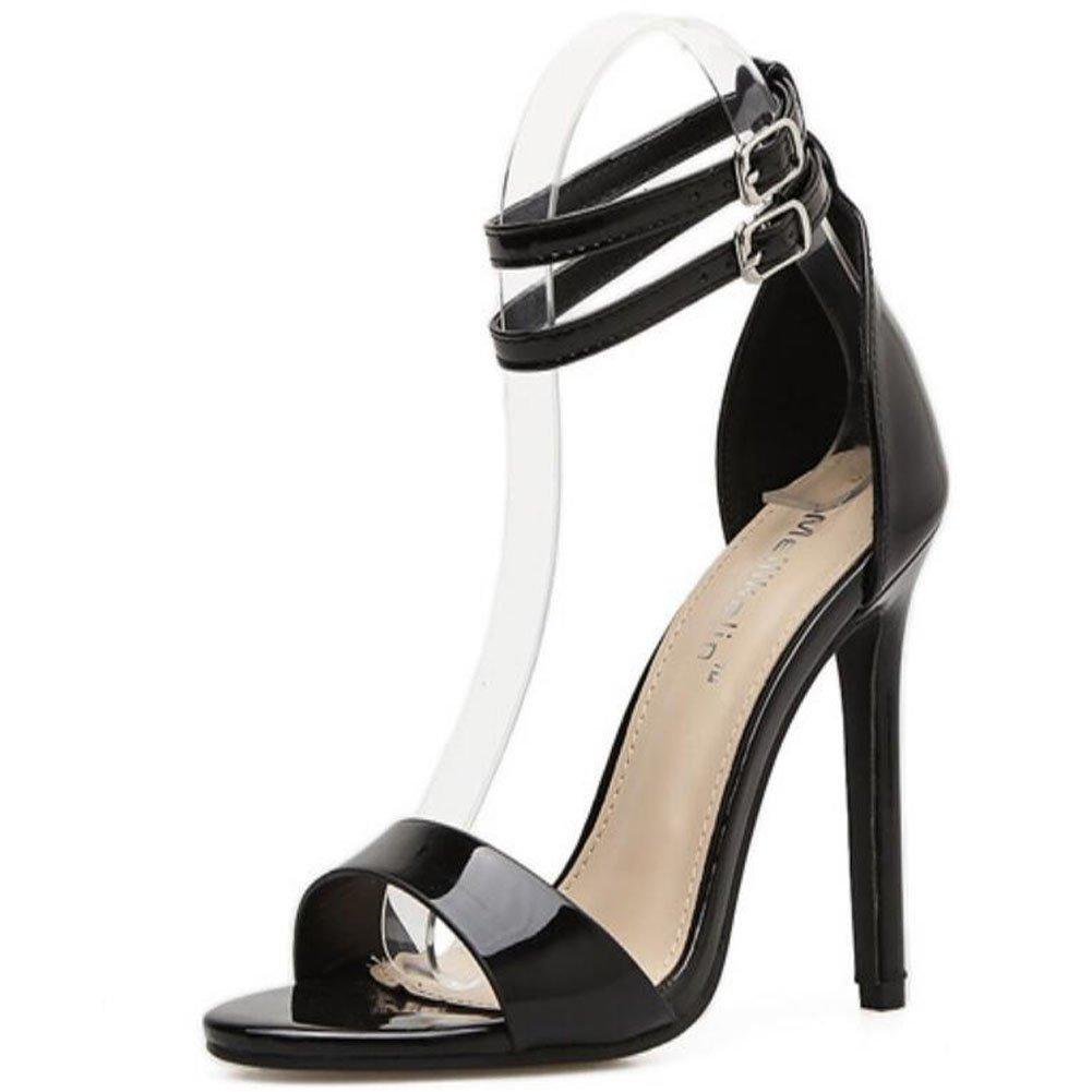 JUNBOSI Frauen High Heels Doppelschnalle Sommer Neue Feste Lackleder Doppelschnalle Heels Mode Schuhe mit Hohen Absätzen Sandalen Schwarz schwarz c401a1
