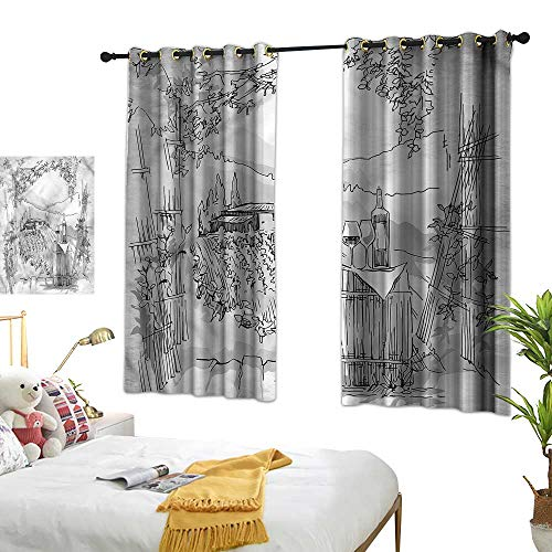 G Idle Sky Bedroom Blackout Curtains Sketchy Printing Insulation Valley Winery House Art 72