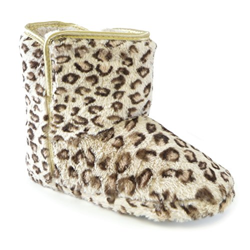 Furry Boot Womens Universal Slippers Print Leopard Leopard Gold Ladies Textiles XXOAFxw