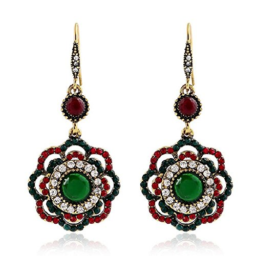 Yuriao Jewelry Elegant Vintage Bohemia Style Diamond Accented Pierced Flower Earrings (Dallas Stars Halloween Party)