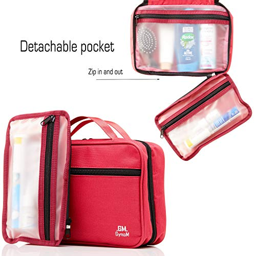 Hanging Toiletry Travel Bag by GYNOM | Compact Toiletry Bag with Waterproof Zippered pockets, mesh pouch for toothbrush & Reliable Hook | Medium Cosmetic Kit Organizer (Red)